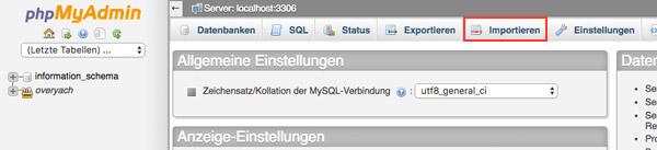 Wordpress website umziehen Datenbank importieren