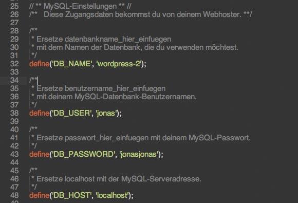 wordpress website umziehen mysql einstellungen