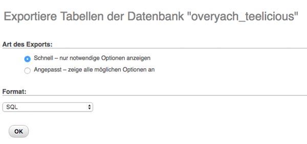 WordPress website umziehen datenbank exportieren